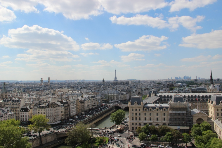 Pretty views of Paris from the top of Notre Dame Cathedral.