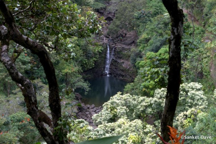 Waterfall from the Kahanu Garden