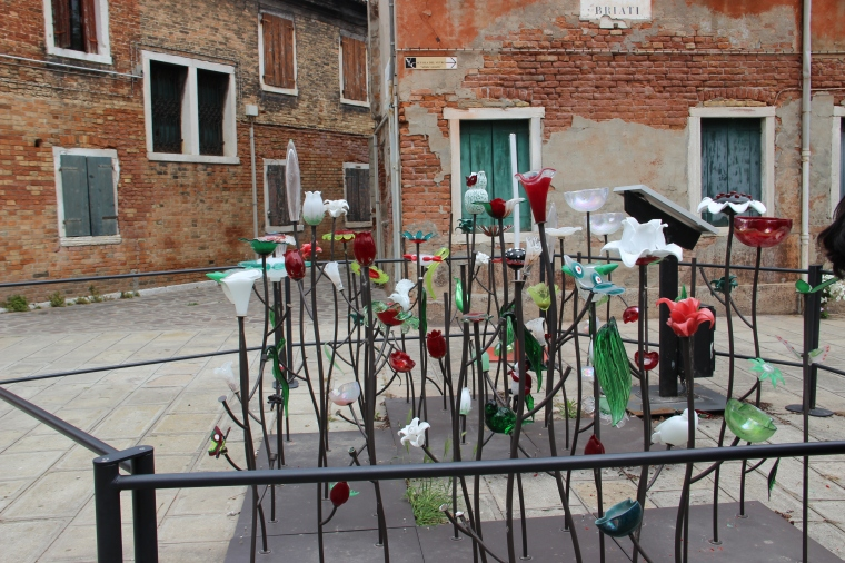 On the island of Burano.GLass flower garden.