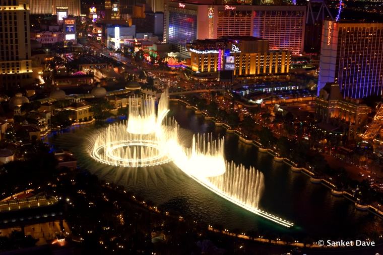 Bellagio fountains from the room