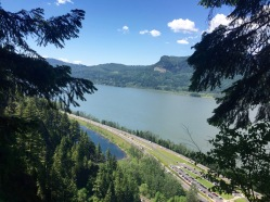 The view from the top of Multnomah falls